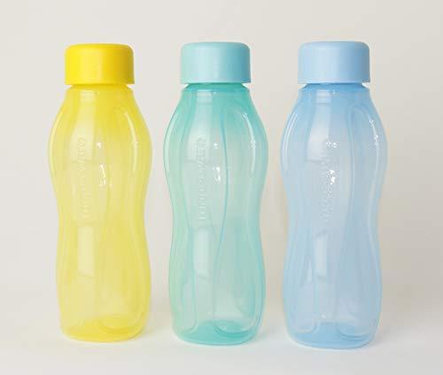 TUPPERWARE EcoEasy to Go Trinkflasche EcoEasy Ökoflasche 3X 310ml GELB/Mint/Pastell BLAU Flasche + Kugelschreiber