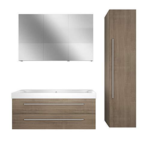 Baño muebles Juego City 101V4roble claro, mueble de baño, lavabo 120cm mit 2x 5W LED-Strahler +50.-EUR