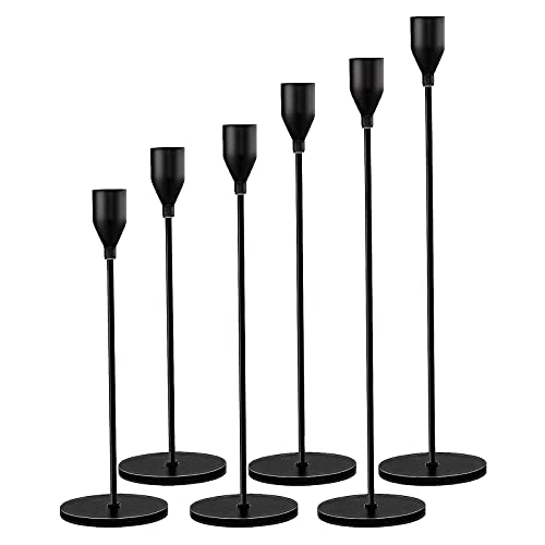 Candle Holder 6 in 1 Set Candlestick Holders Fits 3/4 inch Thick Taper Candle&Led Candles for Wedding,Dining,Party,Home Decoration (6, Matte Black)