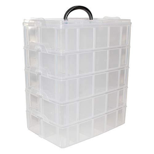 BELLE VOUS 5 Delige Opslag Doos- H29,5xB24xD15cm Helder Plastic Stapelbare Doos met 50 Aanpasbare vakjes - Opslag Organiser