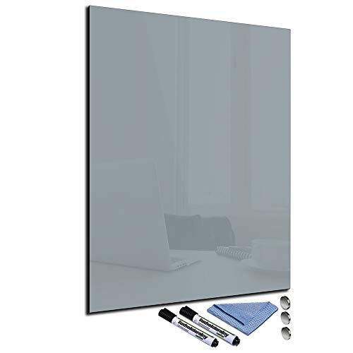 Pizarra magnética de cristal gris, 60 x 80 cm, tablón de anuncios con accesorios
