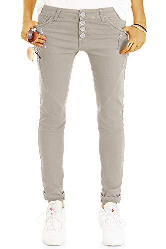 be Styled Damenjeans, Hüftige Tapered Hose, lässige lockere Stretchfit Passform, Knopfleiste und Reißverschluss j14r 36/S-Sand