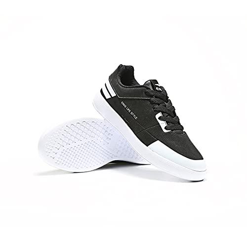 ERKE Men's Fashion Sneakers Breathable Non-Slip Skateboarding Shoes Comfortable Walking Shoes Casual Sports Tennis Shoes Memory Foam Size 8 Black/White