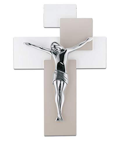 CROCIFISSO 42X30 Moderno Croce da Parete Cristo Colore Argento Legno Tortora Bianco ME12103N