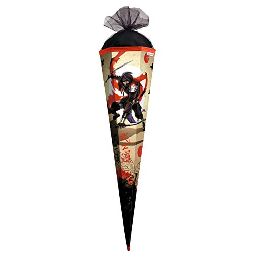 ROTH Schultüte groß Ninja 85 cm - 6-eckig Rot(h)-Spitze Tüllverschluss - Zuckertüte Schulanfang Japan