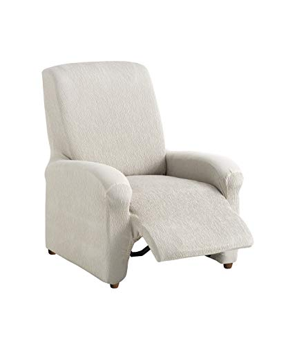 Textilhome - Complete Recliner Armchair Cover TEIDE strech, Slipcover Size 1 Seater - 70 a 100 cm. Colour Ivory