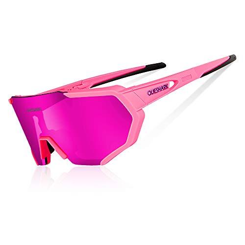 Queshark Occhiali Ciclismo Polarizzati Anti-UV con 3 Lenti intercambiabili per Sport (Rosa)