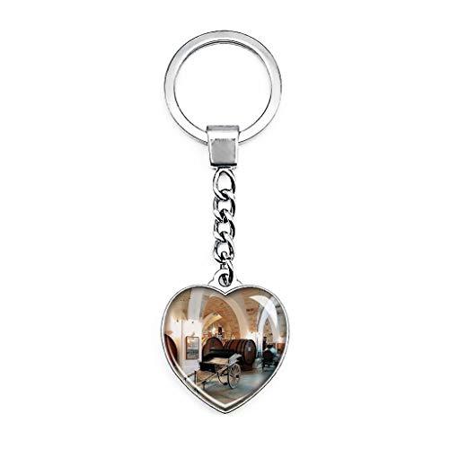 Schlüsselanhänger Italien Manduria Museo Della Civilta Del Vino Primitivo Kreativer doppelseitiger Herzförmiger Kristall Schlüsselanhänger Reise Souvenir Metall