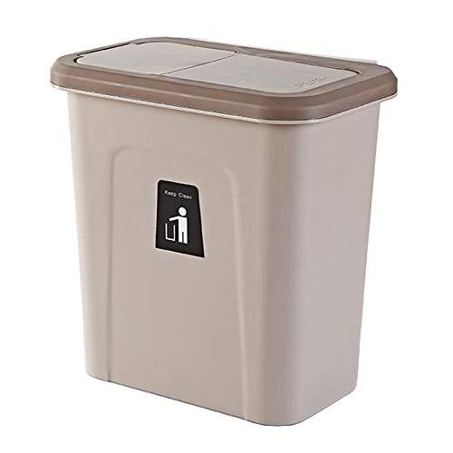 MagiDeal Cubo de basura colgante para gabinete de cocina y oficina, pequeño cubo de basura con tapa para dormitorio y baño, cubo de basura para pañales - Marrón