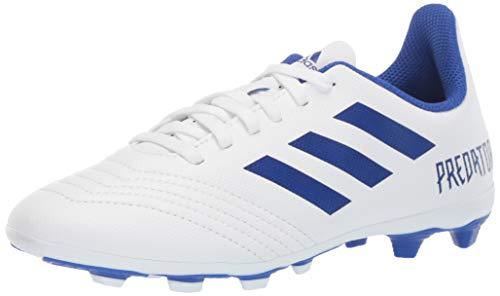 adidas Unisex Predator 19.4 Firm Ground Soccer Shoe, White/Bold Blue/Bold Blue, 6 M US Big Kid