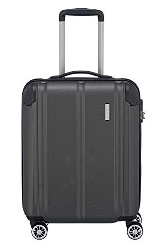 Travelite 4-Rad Handgepäck Koffer erfüllt IATA Bordgepäckmaß, Gepäck Serie CITY: Robuster Hartschalen Trolley mit kratzfester Oberfläche, 073047-04, 55 cm, 40 Liter, anthrazit (grau)