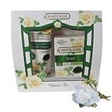 White Rosa Regalo Unisex al agua de rosa, Q10+ Retinol y Caviar–crema para las manos 75ml y jabón 100% Organic 70g