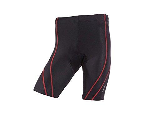 CRIVIT® Herren Fahrradhose, kurz (Gr. L 52/54, schwarz/rote Nähte)