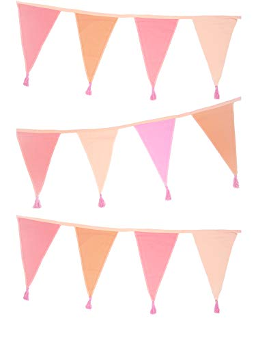 Talking Tables Pink Fabric Bunting with Tassels-3m | Triangle Flag Pennant Garland, 100% Cotton, Home Décor for Girls Bedroom, Nursery Accessories, Indoor Outdoor Birthday Party Decorations, Festival