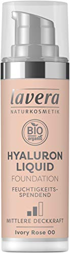 lavera HYALURON LIQUID FOUNDATION -Ivory Rose 00- mit Bio-Mandelöl ∙ Make-Up Grundierung ∙ intensive Feuchtigkeit ✔ Naturkosmetik ✔ vegan ✔ Bio Inhaltsstoffe ✔ Natürlich & Innovativ, 30 ml