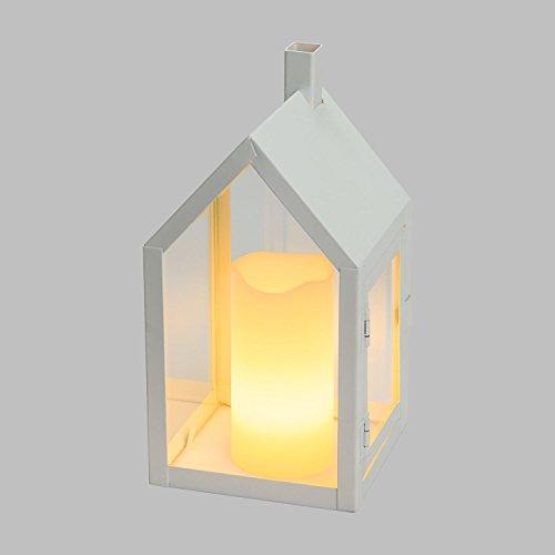 XMASKING Lanterna casetta in Vetro e Metallo Bianco h 20 cm, Candela in Cera Avorio, LED Bianco Caldo a Batteria con Telecomando 7F IR