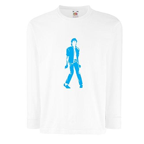 lepni.me Camiseta para Niño/Niña Me Encanta M J - Rey del Pop, 80s, 90s Músicamente Camisa, Ropa de Fiesta (12-13 Years Blanco Azul)