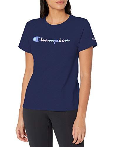 Champion Classic Graphic tee Camiseta, Athletic Navy-586417, XL para Mujer