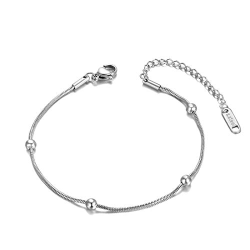 Bracelets Bangle Jewellery For Bohemia Style Titanium Stainless Steel Beads Chain Charm Bracelets For Women Trendy Rose Gold Beach Jewelry Steelcolor