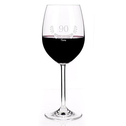 Leonardo Weinglas mit Gravur des Names zum 90. Geburtstag - Happy Birthday - die Geschenkidee