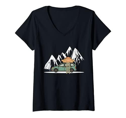 Damen Mini Camper mit Dachzelt in den Bergen - Camping Auto T-Shirt mit V-Ausschnitt