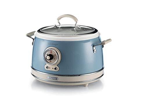 Ariete 2904, Rice Cooker, Cuociriso Slow Cooker, Cottura a Vapore, Linea Vintage, 3,5 L, Rivestimento Ceramica Antiaderente, 650 W, Celeste