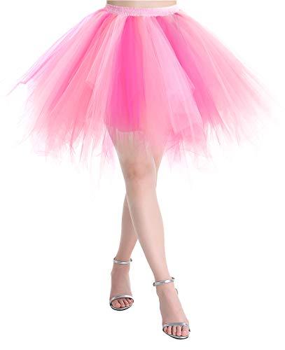 MUADRESS LXQ Mini Falda Enagua Mujer Cancan Vintage para Vestido Rockabilly Disfraces Coral Rosa Clara Rosa Roja XL