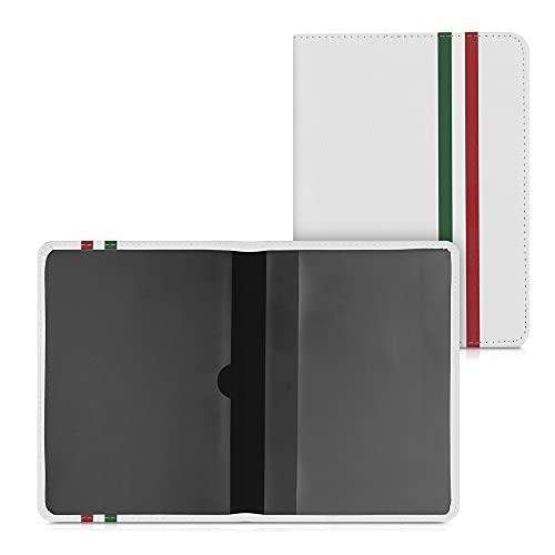 kwmobile Custodia in Pelle PU per Libretto Circolazione Auto - Cover Portalibretto con Scomparti per Tessere Patente - Foderina Porta Documenti verde / rosso / bianco