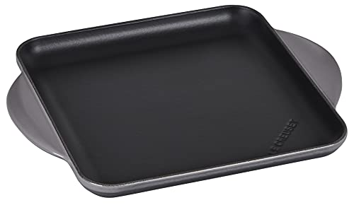 Le Creuset Emaillierter quadratischer Grill aus Gusseisen für fettarmes Kochen auf allen Kochfeldern, einschließlich Induktion, 24 cm, Flint, 20207244440460