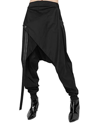 ellazhu Women Baggy Elastic Waist Drawstring Black Harem Pants GY1709
