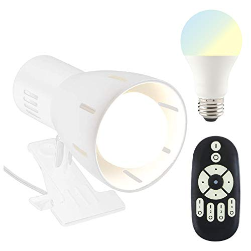 共同照明 クリップライト デスクライト 調光調色LED電球40W形付き リモコン対応 GT-SETTD-WHITE-6WT2-Y ホワイト 電気スタンド スイッチ付き おしゃれ コンセント式 ブラック インテリア照明 作業ライト 読書 仕事 リビング 寝室照明