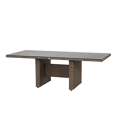 Siena Garden Dining Tisch Teramo, 220x100x74cm, Gestell: Aluminium, pulverbeschichtet, Fläche: Gardino-Geflecht in bronze,Tischplatte: Spraystone