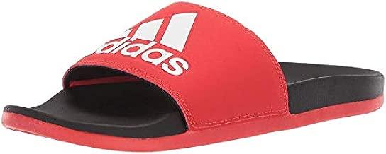 adidas Men's Adilette Comfort Sandal, Red/White/Black, 11