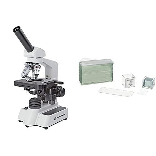 Bresser hochwertiges monokulares Durchlicht-Mikroskop, Erudit DLX 40x-1000x Vergrößerung, koaxialer Kreuztisch & Mikroskop Objektträger/Deckgläser (50x/100x) mit geschliffenen Kanten zur Erstellung