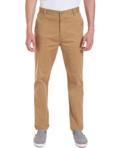 Nautica Men's School Uniform Wrinkle Resistant Stretch Pant, Burnished Khaki, 36W X 32L