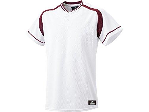 [エスエスケイ] ベースボールウェア 2ボタンプレゲームシャツ [メンズ] BW2200 ホワイト×エンジ (1022) 日本 S (日本サイズS相当)