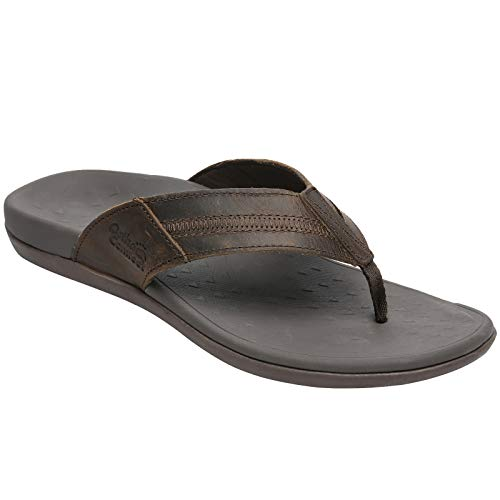 Arch Support Flip Flops For Men,Orthopaedic Casual Thong Sandals, Indoor Outdoor Sport Walking Beach Toe-Post Slippers Coffee Size 10.5