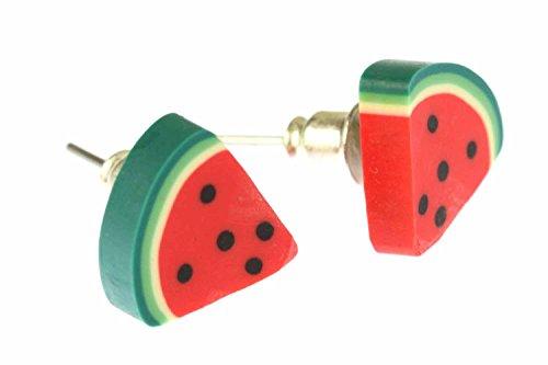 Melone Ohrstecker Miniblings Stecker Ohrringe Melonen Wassermelone Achtel Obst