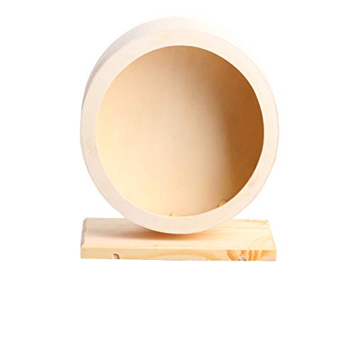 Small Pets Exercise Wheel Hamster Wooden Mute Running Spinner Wheel Play Toy for Rat Gerbil Mice Chinchillas Hedgehogs Guinea Pigs (M)