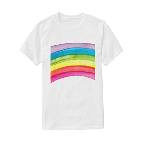 FAJRO - Camiseta de manga corta para mujer, cuello redondo, diseño de arcoíris - Multi - Large