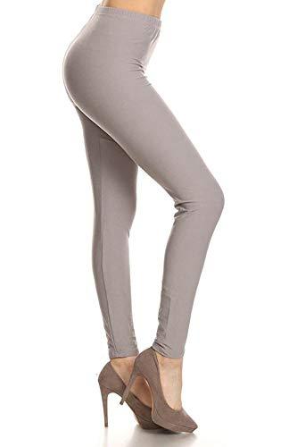 LDX128-Light Gray Basic Solid Leggings, Plus Size