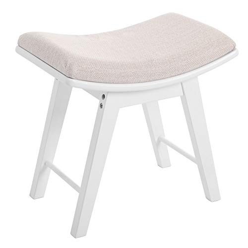 SONGMICS Vanity Stool, Modern Concave Seat Surface Makeup Dressing Stool Padded Bench with Rubberwood Legs, Capacity 286lb, Easy Assembly, White URDS51W
