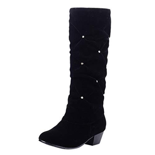 MOTOCO Frauen Low Heel Mid-Leg Stiefel Damen Wildleder Slip-On Flock Round Toe Freizeitschuhe rutschfeste Stiefel(39 EU,Schwarz)