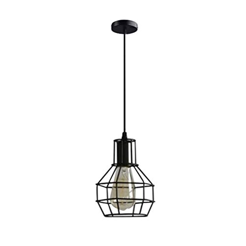 Lámpara de techo de estilo rústico de metal, para restaurante, tipo D, sin bombilla, color negro