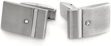 0.01-0.02 Cts SI2-I1 Clarity & I-J Color Diamond Men's Cufflinks in Brush-Finished Stainless Steel