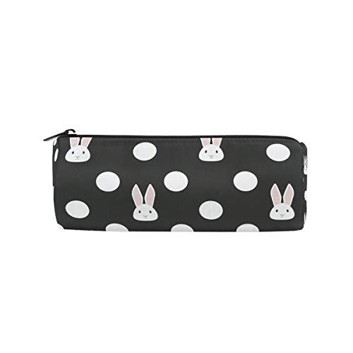 Conejo de lunares cilindro estuche titular de la cremallera de gran capacidad bolsa de la pluma de los estudiantes papelería cosméticos maquillaje bolsa