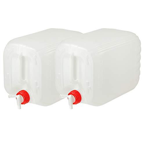 Anaterra Wasserkanister 2X 10L, Trinkwasserkanister, Wasser Kanister mit Deckel und Hahn fürs Camping, 2er Set je 10 Liter