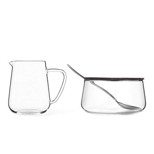 VIVA scandinavia Milch und Zucker-Set aus Glas mit Edelstahl-Löffel, sehr leicht und dünnwandig, bleibt klar