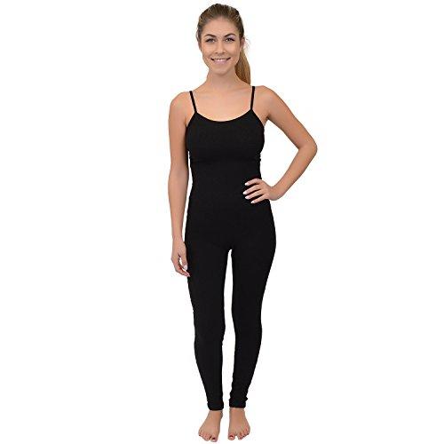 Stretch is Comfort Women's Camisole Unitard Dancewear Gymnastics Catsuit Spaghetti Strap (Medium, Black)
