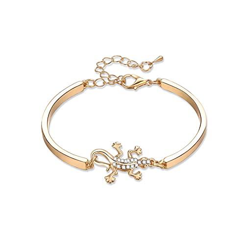 Pulsera en forma de Gecko de moda para hombres y mujeres, mismo estilo, con incrustaciones de diamantes de imitación, aleación Ha Aniversario de bodas día de la madre regalo de cumpleaños de navidad